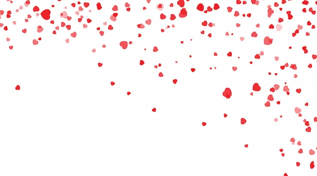 Petali rossi dei cuori che cadono per il san valentino, forma del fondo dei coriandoli del cuore. san valentino, a forma di cuore sfondo coriandoli.