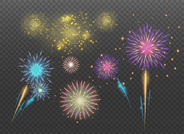 Petardi scintille. fuochi d'artificio per le vacanze.