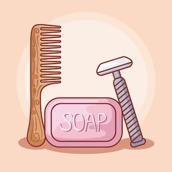 Pettine per capelli in legno con accessori personali