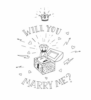 Petto di uomo morto con una scorza di nozze con diamante e corona lucida. mi sposerai con il design nel tradizionale stile del tatuaggio. illustrazione.
