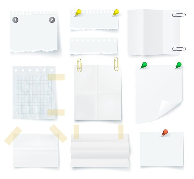 Pezzi di bianco strappato set di carta nota vuoto