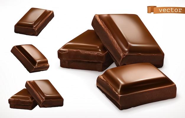 Pezzi di cioccolato. icona realistica 3d