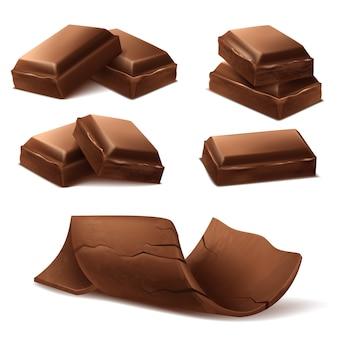 Pezzi di cioccolato realistico 3d. brown deliziose barrette e scaglie di cioccolato f