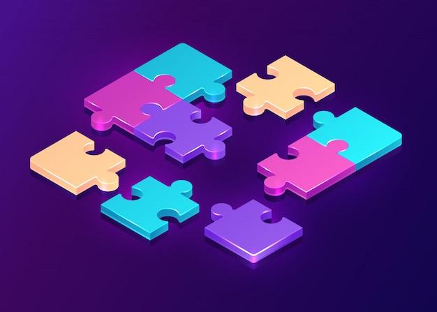 Pezzi di puzzle isometrici su sfondo viola