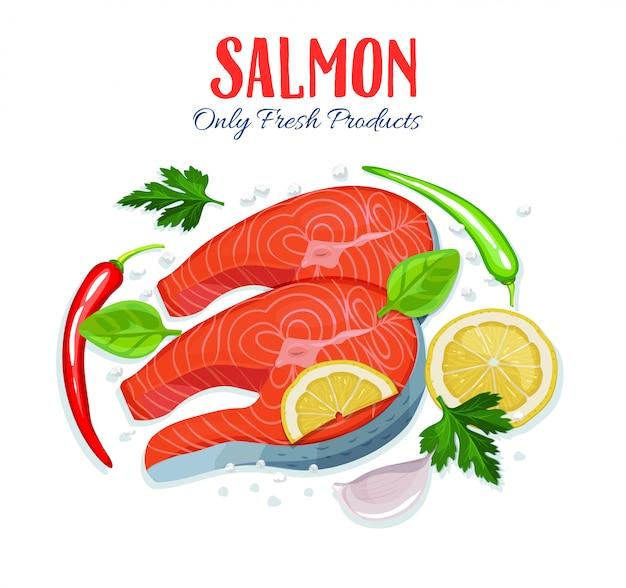 Pezzi di salmone pesce rosso con