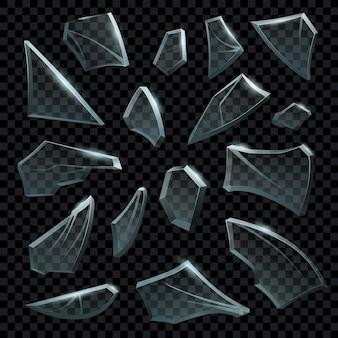 Pezzi realistici di set di vetro trasparente rotto