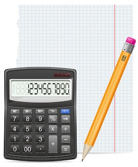 Pezzo di carta del calcolatore e illustrazione di vettore della matita