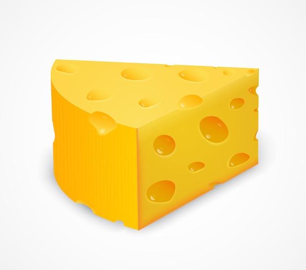 Pezzo di formaggio isolato su bianco