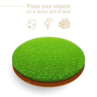 Pezzo di prato tagliato. taglio rotondo di terra con una fitta erba verde e terreno marrone. 3d realistico