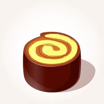 Pezzo di rotolo di cioccolato con crema al limone in stile cartoon