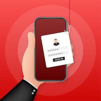 Phishing di dati con amo da pesca, cellulare, sicurezza su internet. illustrazione di riserva.