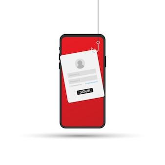 Phishing di dati con amo da pesca, cellulare, sicurezza su internet. illustrazione vettoriale