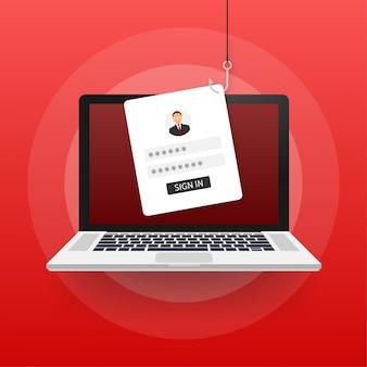 Phishing di dati con amo da pesca, cellulare, sicurezza su internet. illustrazione.