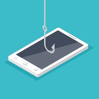 Phishing di dati, hacking truffa online sul concetto di smartphone.