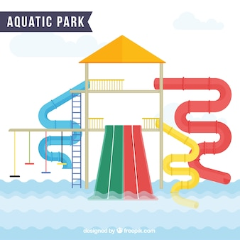 Piacevole parco acquatico in design piatto