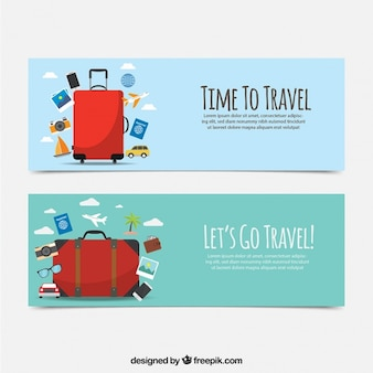 Piane banner viaggio con la valigia rossa