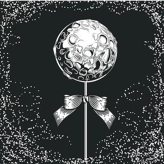 Pianeta a forma di caramella su un bastone. illustrazione dello spazio.