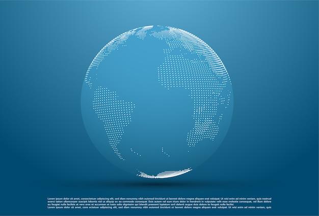 Pianeta astratto, punti, che rappresentano il significato globale e internazionale