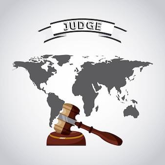 Pianeta mondo con giudice martelletto