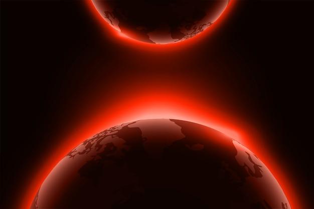 Pianeta rosso incandescente su sfondo nero
