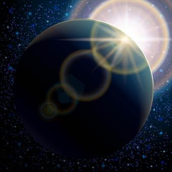 Pianeta terra, spazio stellato e brillamento solare. galassia spaziale.