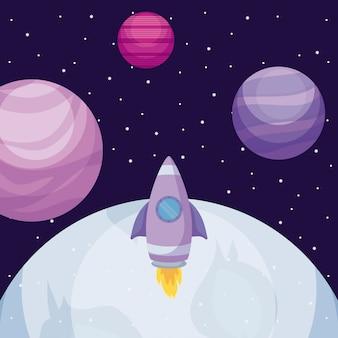 Pianeta universo spaziale con razzo