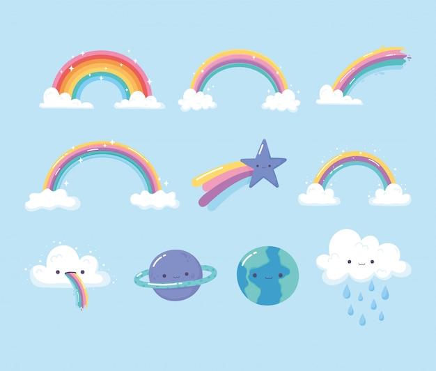 Pianeti arcobaleni stella cadente con icone del fumetto del cielo di nuvole