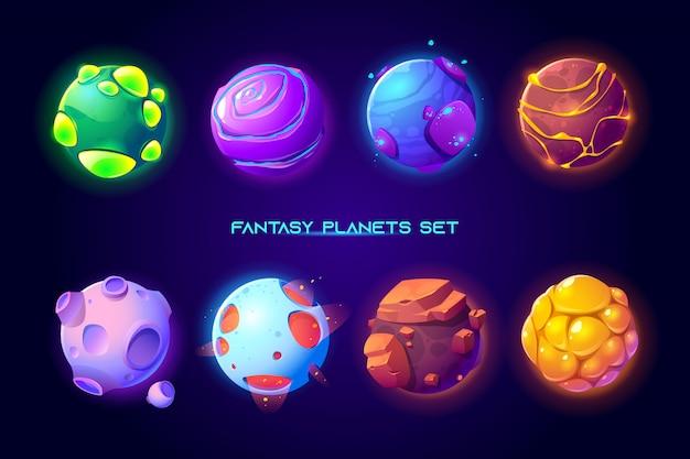 Pianeti spaziali fantastici per il gioco della galassia