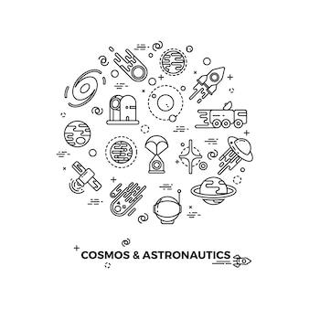 Pianeti spazio e icone vettoriali razzo