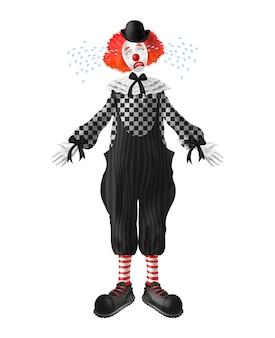 Piangendo un clown dai capelli rossi con lacrime che sgorgano dagli occhi