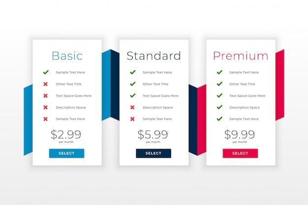 Piani web di abbonamento e modello web della tabella dei prezzi