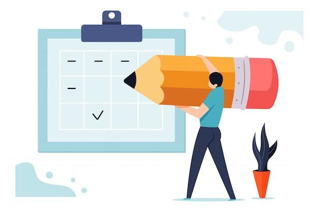 Pianifica l'illustrazione di affari del bordo con un uomo con una matita vicino al calendario di pianificazione.