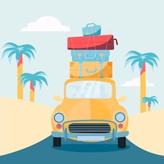 Pianificare le vacanze estive, viaggiare in auto. veicolo con valigie sul tetto. viaggi nel mondo, vacanze estive, turismo e vacanze a tema.