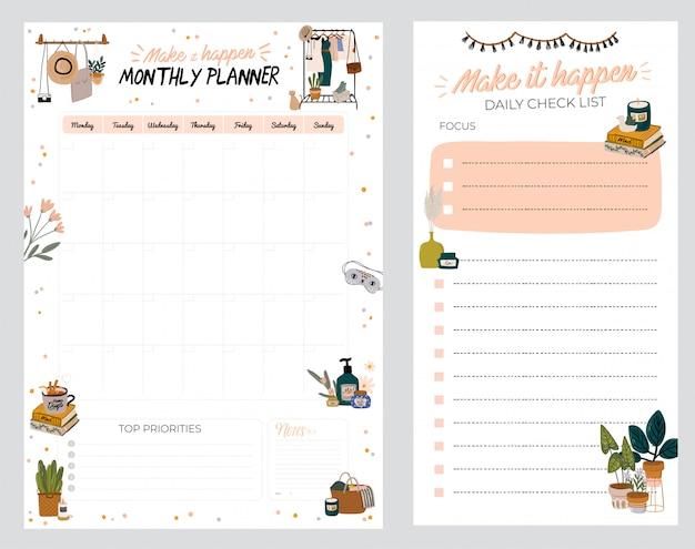 Pianificatore, carta per appunti, lista delle cose da fare, decorato con illustrazioni di decorazioni per interni e citazione ispiratrice. programmatore e organizzatore scolastico.