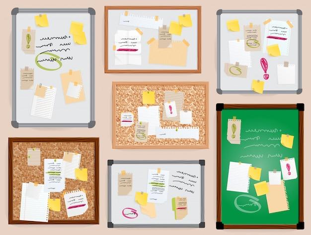Pianificatore da parete pined degli adesivi del bordo della parete dell'ufficio pined a bordo gli stikers dell'ufficio isolati illustrazione a bordo con il testo delle note di bisiness.