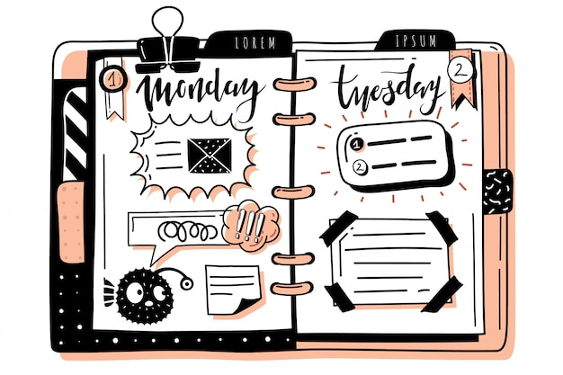 Pianificatore di banner doodle proiettile journal. modello di diffusione del blocco note disegnato a mano. cornici, finestre di dialogo. giorni della settimana, lunedì, martedì