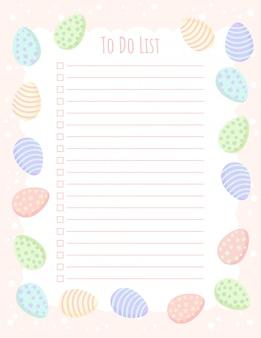 Pianificatore di fare il modello di elenco con le uova di pasqua in colori pastello.