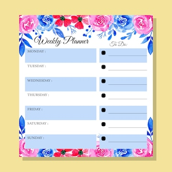 Pianificatore settimanale blu e rosa con acquerello floreale