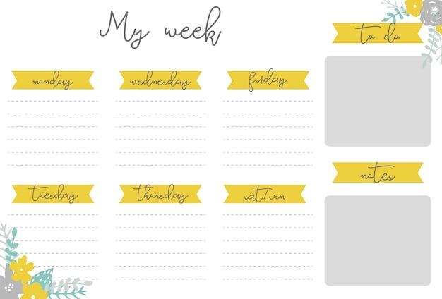 Pianificatore settimanale con fiori, organizzatore di cancelleria per piani giornalieri, modello settimanale di planner vettoriali floreali, orari
