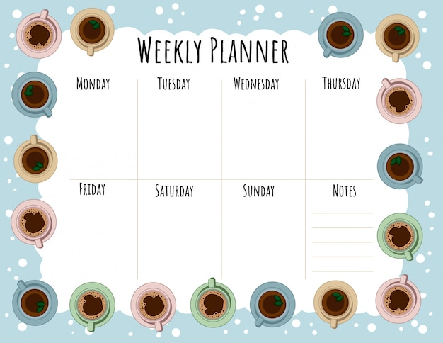 Pianificatore settimanale di tazze da tè e caffè e lista delle cose da fare.