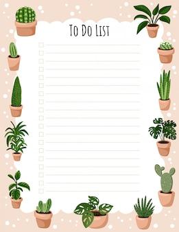 Pianificatore settimanale hygge ed elenco delle piante succulente in vaso