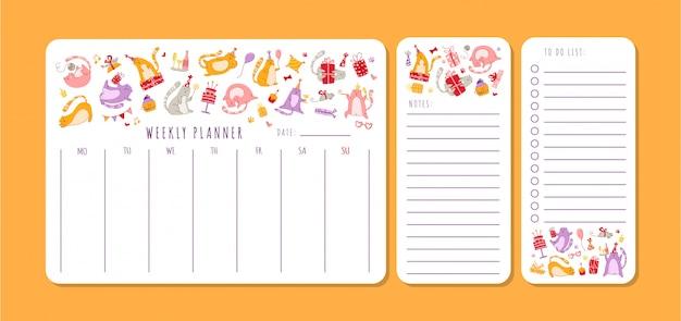 Pianificatore settimanale o giornaliero di compleanno di gatti con note e lista delle cose da fare. organizzatore personale di cancelleria