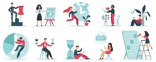 Pianificazione degli orari. strategia di tempistica del lavoro, persone in ufficio che pianificano il programma di lavoro, set di illustrazioni per la gestione del tempo produttivo. attività di gestione, tempo del lavoratore dell'uomo d'affari, ufficio del gestore di vettore