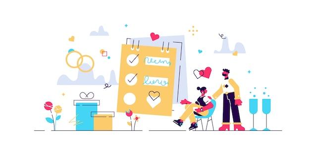 Pianificazione del matrimonio con lista di controllo e programma di promemoria concetto di piccole persone.