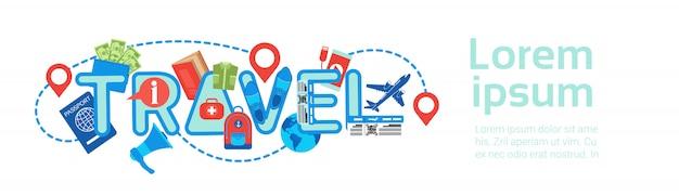 Pianificazione dell'itinerario di giro del modello dell'insegna di viaggio orizzontale, concetto di prenotazione e di imballaggio