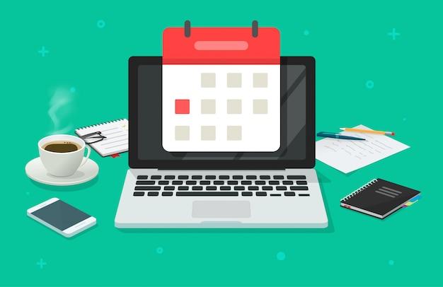 Pianificazione di evento alla data di calendario sul computer portatile nell'illustrazione piana del fumetto del tavolo di lavoro dell'ufficio