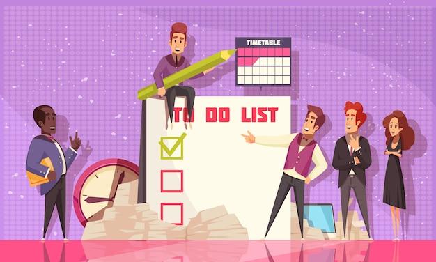 Pianificazione pianificazione composizione piatta illustrato grande taccuino con un elenco di attività aziendali pianificate