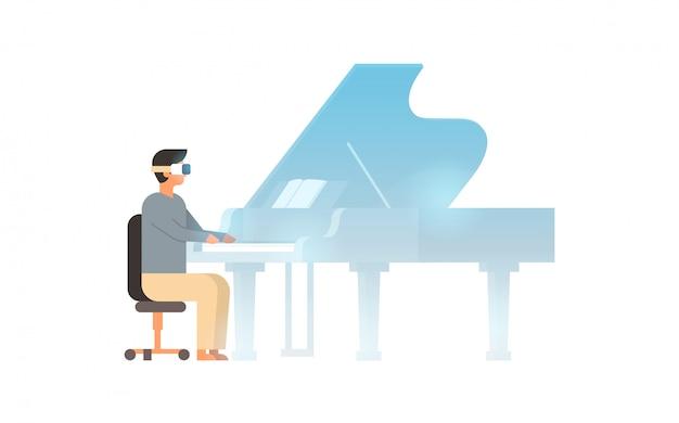 Pianista uomo indossa occhiali digitali tocco realtà virtuale pianoforte a coda vr vision headset