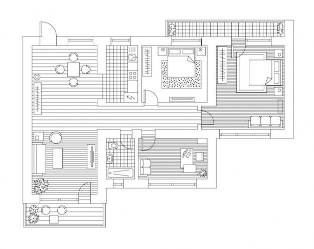 Piano di architettura con mobili in vista dall'alto. libro da colorare.