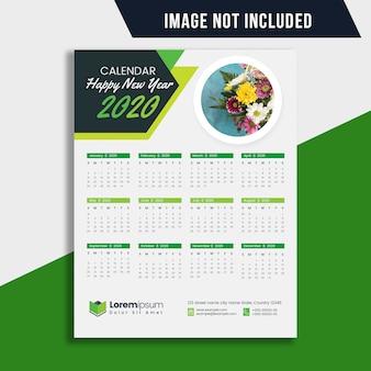 Piano di calendario di una pagina 2020